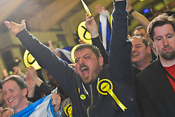SCOTTISH PARLIAMENTARY ELECTION 2016 – Scottish National Party (SNP) supporters celebrate winning the Peatlands area vote at the Scottish Parliament Elections, at the Royal Highland Centre, Edinburgh for the counting of votes and declaration of results.<br /> (c) Brian Anderson | Edinburgh Elite media