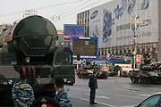 Moscow, Russia, 09/05/2010..Russian military vehicles and weaponry, including a Topol-M intercontinental ballistic missile, on their way through central Moscow to Red Square for the Victory Day parade, the largest ever.