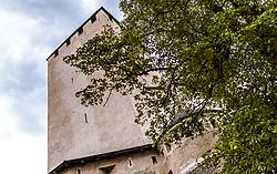 THEMENBILD - Blick auf den Turm vom Schloss Bruck. Das Schloss war der Wohnsitz der Grafen von Görz von etwa 1278 bis zum Jahr 1500. Es besitzt eine Burgkapelle mit Fresken von Simon von Taisten. Seit dem Jahr 1943 dient es als Museum der Stadt Lienz, aufgenommen am 20. Mai 2017 in Lienz, Österreich // View of the tower from the Bruck Castle. It was completed in 1278 as the residence of the Meinhardiner Counts of Görz. In 1490. the chapel was decorated with frescoes by Simon von Taisten. Bruck Castle is a museum featuring many works of the painter Albin Egger-Lienz, on 2017/05/20, Lienz, Austria. EXPA Pictures © 2017, PhotoCredit: EXPA/ JFK