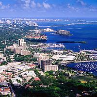 1996 view of Coconut Grove, Dinner Key towards Miami and Miami Beach.