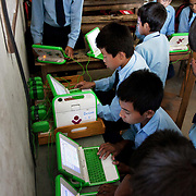 Children work after school on their Pcs provided by the local charity ETC-N in a scholl near Kathmandu, Nepal.