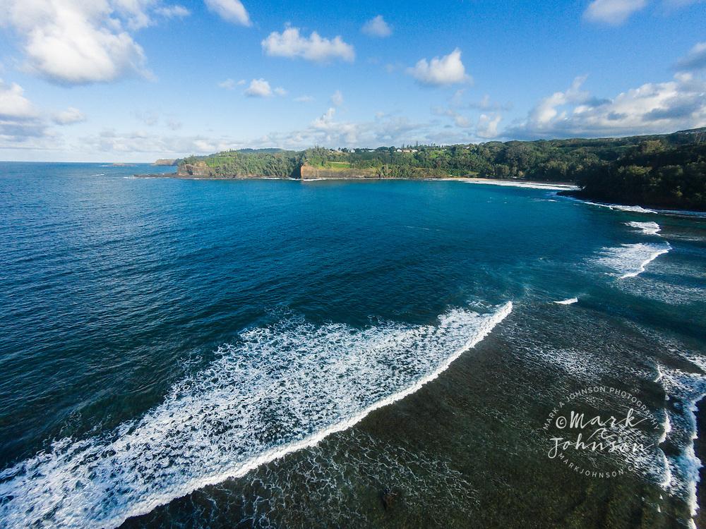 Aerial photograph of Kalihiwai Bay, Kauai, Hawaii