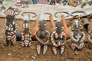 Africa, Ethiopia, Omo River Valley Hamer Tribe handicraft clay dolls for sale at the regional market
