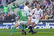 Twickenham. Surrey, UK., 16th February 2002, Six Nations International Rugby,  RFU Stadium, England vs Ireland,  [Mandatory Credit: Peter Spurrier/Intersport Images], Jonny WILKINSON, glides past, Rob HENDERSON [R] Neil BACK, <br /> <br /> The Lloyds TSB Six Nations Championship<br /> England v Ireland<br /> RFU - Twickenham<br /> 16/02/2002