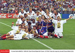©Lionel Hahn/ABACA.10925.09.Paris-France,12/07/ 1998. France made soccer history here on Sunday night, when the underdogs beat defending champions Brazil 3-0 to win the last World Cup this century before a delirious crowd of 80,000 people.
