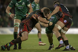 November 3, 2018 - Galway, Ireland - Connan O'Donnell of Connacht tackled by Taine Basham and Brok Harris of Dragons during the Guinness PRO14 match between Connacht Rugby and Dragons at the Sportsground in Galway, Ireland on November 3, 2018  (Credit Image: © Andrew Surma/NurPhoto via ZUMA Press)