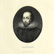 Portrait of William Shakespeare [Here as Shakspeare] (bapt. 26 April 1564 – 23 April 1616) was an English playwright, poet, and actor, widely regarded as the greatest writer in the English language and the world's greatest dramatist. Copperplate engraving From the Encyclopaedia Londinensis or, Universal dictionary of arts, sciences, and literature; Volume XXIII;  Edited by Wilkes, John. Published in London in 1828