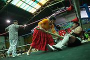 """Patricia Kaly Tito, """"Alicia Flores"""" golpea con un pedazo de madera a su adversario durante el espectáculo de lucha libre que ofrecen cada domingo. Las Cholitas usan el vestido tradicional de los Aymara para luchar en el cuadrilátero, en La Paz, Bolivia, el 19 de Febrero de 2012."""