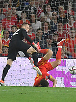 Football - 2022 FIFA World Cup - European Qualifying - Group E - Wales vs Estonia - Cardiff City Stadium - Wednesday 8th September 2021<br /> <br /> Karl Hein Estonia & Harry Wilson Wales collide<br /> <br /> COLORSPORT/WINSTON BYNORTH
