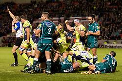 Ross Harrison of Sale Sharks scores a try  - Mandatory by-line: Matt McNulty/JMP - 15/09/2017 - RUGBY - AJ Bell Stadium - Sale, England - Sale Sharks v London Irish - Aviva Premiership