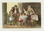 Evening' Father coming home. Agricultural labourer returning from work to family and evening meal eagerly greeted by 4 children .  Cottage door opens directly into living room. Chromolithograph c1880.