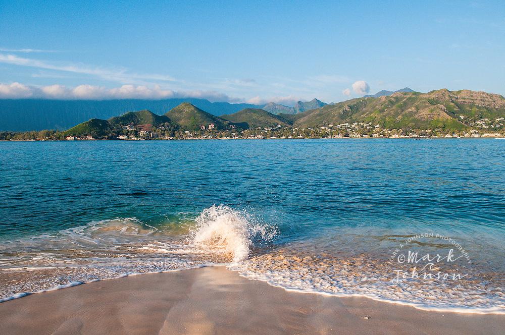 The beach of Moku Nui Island looking back towards Lanikai Beach & the Koolau Mountains, Kailua Bay, Oahu, Hawaii