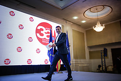 September 30, 2018 - Skopje, Former Yugoslav Republic of Macedonia - Macedonian Prime Minister Zoran Zaev holds a press conference after the closing of the polls in the Macedonian referendum to solve the name issue with Greece following the Prespa agreement, in Skopje, Former Yugoslav Republic of Macedonia. (Credit Image: © Eurokinissi via ZUMA Wire)