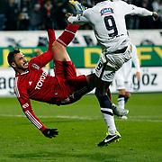 Besiktas's Hugo Almeida (L) during their Turkish superleague soccer match Besiktas between istanbul BBSK at the BJK Inonu Stadium in Istanbul Turkey on Saturday, 19 January 2013. Photo by Aykut AKICI/TURKPIX