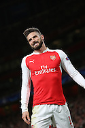 Arsenal striker Oliver Giroud unhappy at missing a chance during the Champions League match between Arsenal and Dinamo Zagreb at the Emirates Stadium, London, England on 24 November 2015. Photo by Matthew Redman.