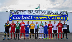 RHYL, WALES - Tuesday, August 20, 2013:Corbett Sports Mike Corbett with 12 players from each of the Welsh Premier League teams help launch the Corbett Sports Welsh Premier League at Rhyl Football Club. (Pic by David Rawcliffe/Propaganda)