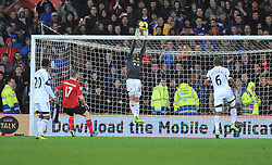 Replacement Goal keeper Swansea City's Angel Rangel makes a save moments after coming on. - Photo mandatory by-line: Alex James/JMP - Tel: Mobile: 07966 386802 03/11/2013 - SPORT - FOOTBALL - The Cardiff City Stadium - Cardiff - Cardiff City v Swansea City - Barclays Premier League