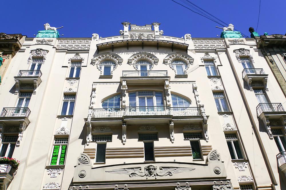 Facade of Art Nouveau building in Riga, Latvia