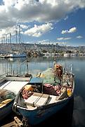Israel, Haifa, fishing boats in the Kishon harbour
