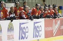 Players of Hungary at IIHF Ice-hockey World Championships Division I Group B match between National teams of Hungary and Croatia, on April 20, 2010, in Tivoli hall, Ljubljana, Slovenia.  (Photo by Vid Ponikvar / Sportida)
