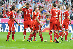 19.10.2013, Allianz Arena, Muenchen, GER, 1. FBL, GER, 1. FBL, FC Bayern Muenchen vs 1. FSV Mainz 05, 9. Runde, im Bild v l Freude bei Mario Goetze (FC Bayern Muenchen), Jerome Boateng (FC Bayern Muenchen), Thomas Mueller (FC Bayern Muenchen), Diego Contento (FC Bayern Muenchen), Mario Mandzukic (FC Bayern Muenchen),Bastian Schweinsteiger (FC Bayern Muenchen), Toni Kroos (FC Bayern Muenchen) nach dem 3:1 durch Mario Mandzukic (FC Bayern Muenchen) // during the German Bundesliga 9th round match between FC Bayern Munich and 1. FSV Mainz 05 Allianz Arena in Muenchen, Germany on 2013/10/19. EXPA Pictures © 2013, PhotoCredit: EXPA/ Eibner-Pressefoto/ Stuetzle<br /> <br /> *****ATTENTION - OUT of GER*****