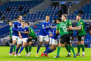 Players fill the penalty box for a Cardiff City corner during the EFL Sky Bet Championship match between Cardiff City and Birmingham City at the Cardiff City Stadium, Cardiff, Wales on 16 December 2020.