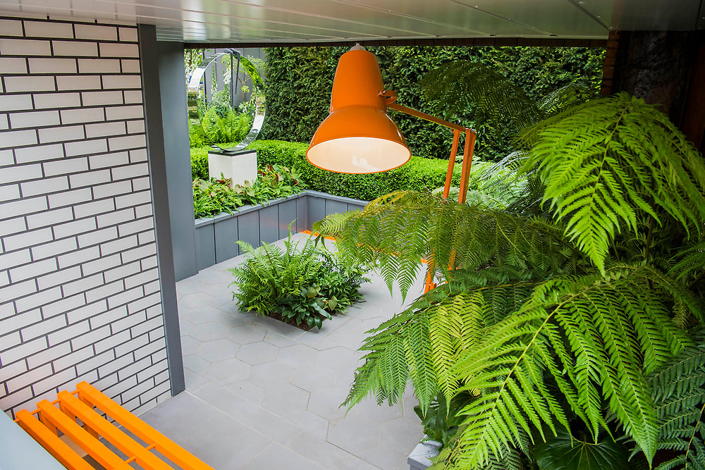 Gold medal winning City Living Garden by Kate Gould Gardens - The Chelsea Flower Show organised by the Royal Horticultural Society with M&G as its MAIN sponsor for the final year. London 23 May, 2017