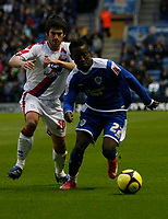 Photo: Steve Bond/Richard Lane Photography. Leicester City v Crystal Palace. E.ON FA Cup Third Round. 03/01/2009. Max Gradel (R) shields the ball from Danny Butterfield (L)