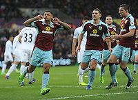 CELE - Burnley's Andre Gray celebrates scoring his sides first goal <br /> <br /> Photographer Ashley Crowden/CameraSport<br /> <br /> The Premier League - Swansea City v Burnley - Saturday 4th March 2017 - Liberty Stadium - Swansea<br /> <br /> World Copyright © 2017 CameraSport. All rights reserved. 43 Linden Ave. Countesthorpe. Leicester. England. LE8 5PG - Tel: +44 (0) 116 277 4147 - admin@camerasport.com - www.camerasport.com