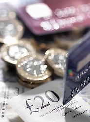 June 8, 2017 - Still life of British currency and credit cards, close-up (Credit Image: © Andrew Brookes/Image Source via ZUMA Press)