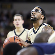 Central Florida guard Marcus Jordan (5) attempts a foul shot during the first half of a Conference USA NCAA basketball game between the Rice Owls and the Central Florida Knights at the UCF Arena on January 22, 2011 in Orlando, Florida. Rice won the game 57-50 and extended the Knights losing streak to 4 games.  (AP Photo/Alex Menendez)