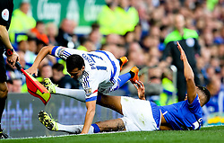 Everton's Brendan Galloway with a hard tackle on Pedro Rodriguez of Chelsea  - Mandatory byline: Matt McNulty/JMP - 07966386802 - 12/09/2015 - FOOTBALL - Goodison Park -Everton,England - Everton v Chelsea - Barclays Premier League