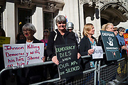 Protesters outside the Supreme Court on day one of the hearing to rule on the suspension of parliament.  Supreme Court judges will decide if Prime Minister Boris Johnson acted unlawfully in advising the Queen to prorogue parliament, on September 17th 2019 in London, United Kingdom.