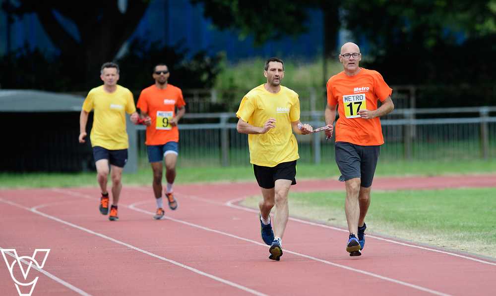 Event: 1500 meters<br /> Competitors, from left: Naqi Rizvi and David Beynon<br /> <br /> Metro Blind Sport's 42nd Athletics Open, held at Mile End Stadium, Tower Hamlets, London.<br /> <br /> Picture: Chris Vaughan Photography for Metro Blind Sports<br /> Date: June 16, 2018