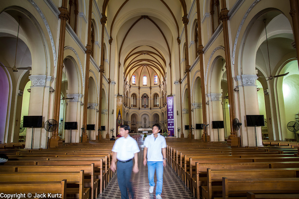 28 MARCH 2012 - HO CHI MINH CITY, VIETNAM:  Interior of Notre Dame Cathedral, the main Roman Catholic Church, in Ho Chi Minh City, Vietnam. Vietnam's has Asia's second largest number of Roman Catholics, a vestige of the French colonizers, after the Philippines. Ho Chi Minh City, which used to be known as Saigon, is the largest city in Vietnam and the commercial hub of southern Vietnam.    PHOTO BY JACK KURTZ