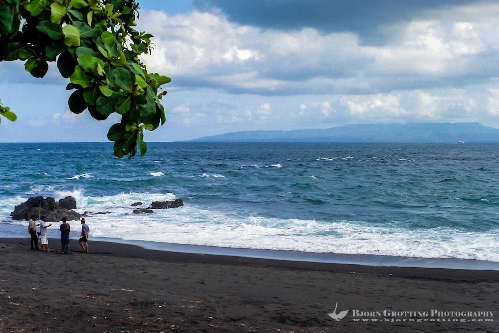 Bali, Klungkung, Goa Lawah. From the Goa Lawah beach you can see as far as Nusa Penida.