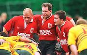 Old Deer Park, Richmond. London Welsh vs Henley Hawks  Intersport<br /> <br /> National League Division 1<br /> London Welsh v Henley<br /> <br /> London Welsh 'front row' Lto R<br /> Joel Brannigan (TH) Gregg Bottermann (H'ker) Steve Pope (LH)