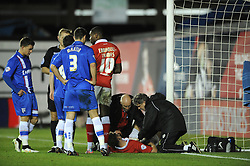 Bristol City's Matt Smith receives treatment for an injury  - Photo mandatory by-line: Dougie Allward/JMP - Mobile: 07966 386802 - 29/01/2015 - SPORT - Football - Bristol - Ashton Gate - Bristol City v Gillingham - Johnstone Paint Trophy