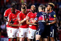 Josh Parker of Charlton Athletic leads a line of teammates at a corner - Mandatory by-line: Robbie Stephenson/JMP - 17/05/2019 - FOOTBALL - The Valley - Charlton, London, England - Charlton Athletic v Doncaster Rovers - Sky Bet League One Play-off Semi-Final 2nd Leg