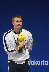JAKARTA, Aug. 24, 2018  Bronze medalist Dmitriy Balandin of Kazakhstan attends the awarding ceremony after men's 50m breaststroke final of swimming at the 18th Asian Games in Jakarta, Indonesia, Aug. 24, 2018. (Credit Image: © Pan Yulong/Xinhua via ZUMA Wire)