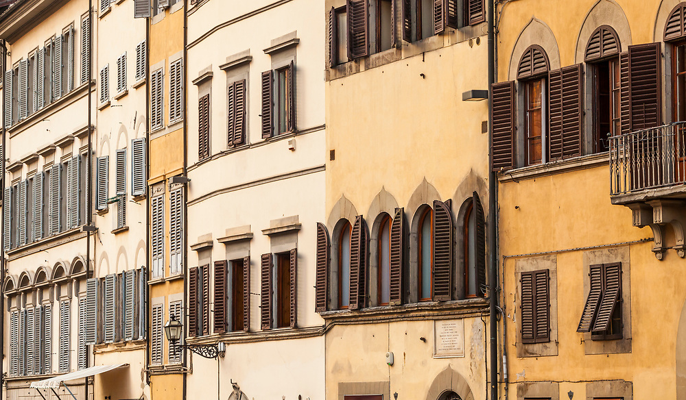 Buildings in Florence, Italy along Piazza dei Pitti.