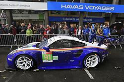 June 11, 2018 - Le Mans, FRANCE - 91 PORSCHE GT TEAM (DEU) PORSCHE 911 RSR GTE PRO RICHARD LIETZ (AUT) GIANMARIA BRUNI (ITA) FREDERIC MAKOWIECKI  (Credit Image: © Panoramic via ZUMA Press)