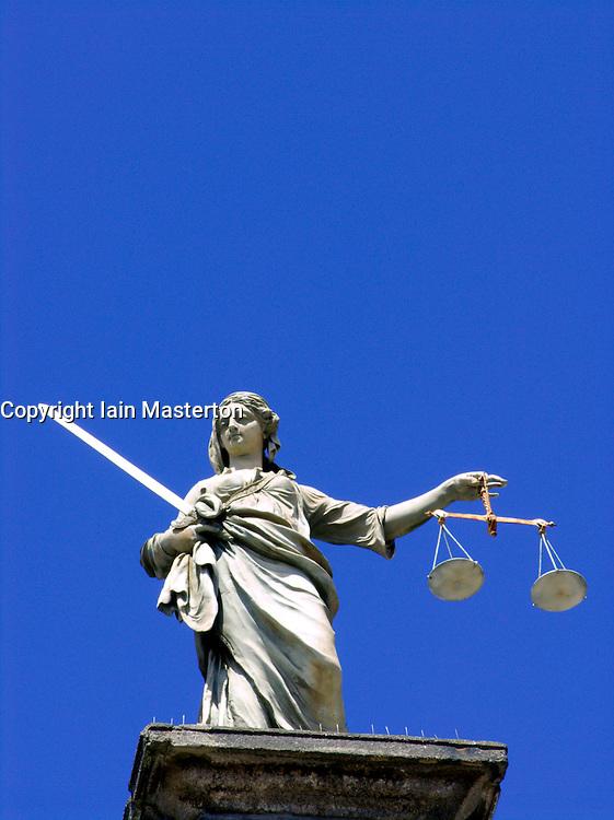 Figure of Justice on top of Dublin Castle in Dublin Ireland 2006