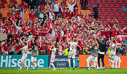 AMSTERDAM, THE NETHERLANDS - Saturday, June 26, 2021: Denmark players celebrate in front of their supporters after the UEFA Euro 2020 Round of 16 match between Wales and Denmark at the  Amsterdam Arena. Denmark won 4-0. (Photo by David Rawcliffe/Propaganda)
