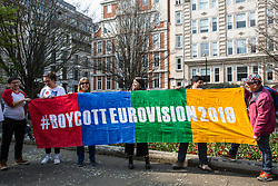 London, UK. 30th March, 2019. Activists from London Palestine Action protest outside the offices of Bauer Media, home of Magic FM, to call on Mel Giedroyc, who has a Saturday radio show on Magic FM, to withdraw from hosting Eurovision 2019 in Tel Aviv in recognition of the Palestinian call for a cultural boycott of Israel and in order not to assist with the 'culturewashing' of Israeli human rights abuses.