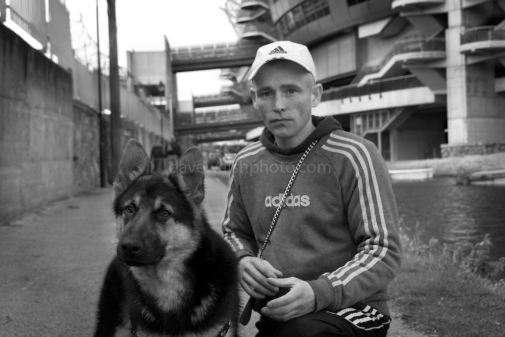 """It's a Friday afternoon. I'm down beside the Royal Canal, taking photos of Croke Park, the Irish gaelic sports stadium. ....A bloke with a dog walks past. ....""""Hey mister, can you take pictures of dogs with that camera?""""....""""Uh, yeah, I could, I suppose""""....""""Can you take a picture of Max? He's only seven months old, and me last dog was killed by a car.""""....""""Ah. My sister's dog was killed by a car two weeks ago. Staffy-whippet cross""""....""""Right. Very intelligent then"""", taps his head, meaninfully.....I get him to write down his address. Hey gets a bit confused doing it. ....""""Sorry man, I had a big operation on my head, and I get mixed  up"""", takes off his baseball cap, shows me criss-cross collection of scars all over his crown and down to his chin. ....When I got Richie and max to stay still long enough, I managed to get some photos. I'm posting them to Richie. Hope he puts them on his wall...."""