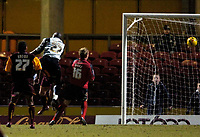 Photo: Jed Wee.<br />Bradford City v Swansea City. Coca Cola League 1. 14/01/2006.<br />Bradford's Dean Windass beats Swansea goalkeeper Willy Gueret to the ball to score a 79th minute equaliser.
