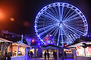 Illuminated Ferris Wheel at night in the centre of Orléans, France