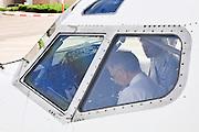 Israel, Ben-Gurion international Airport Pilots in the cockpit preparing for takeoff