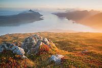 View over Nappstraumen from summit of Offersøykammen, Vestvågøya, Lofoten Islands, Norway